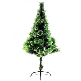 Декоративно двуцветно коледно дръвче, декорирано с изкуствен сняг, с поставка