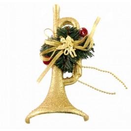 Красива коледна декорация - тематично аранжиран тромпет с брокат за окачване