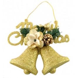 Красива коледна декорация - тематично аранжирани камбанки - брокат и надпис Merry Christmas за окачване