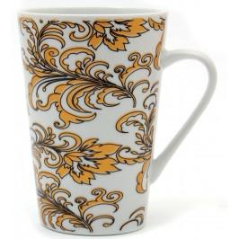 Бяла порцеланова чаша за топли напитки с цветни флорални мотиви