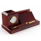 Луксозен дървен комплект за бюро, включващ: визитник, поставка за химикали с часовник и писалка