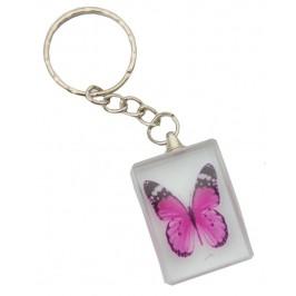 Ключодържател стъклена плочка с гравирана, цветна пеперуда