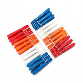 Комплект от 24 броя домакински щипки за простиране, изработени от цветна пластмаса с метален механизъм