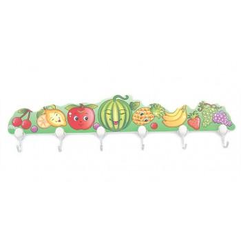Декоративна цветна закачалка с 6 куки, изработена от PVC материал - плодчета