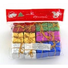 Комплект разноцветни коледни подаръчета за окачване на елха