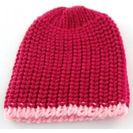 Плетена зимна шапка с цветен кант