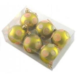 Комплект блестящи коледни топки за окачване на елха, декорирани с брокат