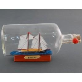 Сувенирен кораб - макет в стъклена бутилка на декоративна дървена поставка - 10х23см