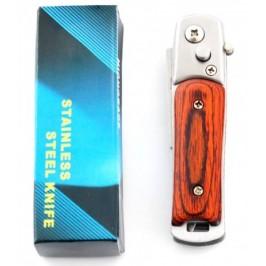 Сгъваем джобен нож с автоматично отваряне и дървена дръжка