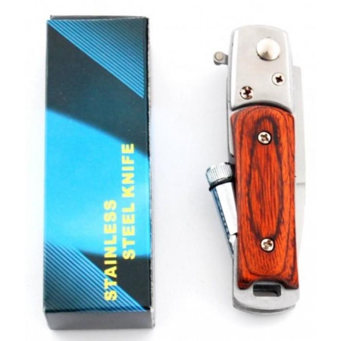 Сгъваем джобен нож с автоматично отваряне, дървена дръжка и фенер