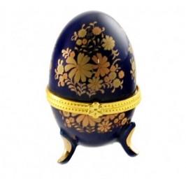 Сувенирна кутийка - порцеланово яйце с метален обков - 8см