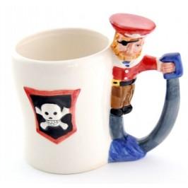 Порцеланова чаша разноцветен принт с дръжка пират