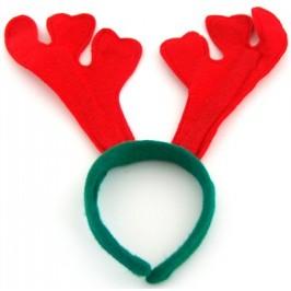 Коледна диадема еленови рога в зелено и червено