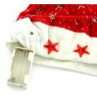 Коледна шапка от кадифе, брокат и полар с декоративни светещи звездички