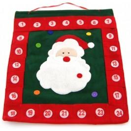 Коледен календар от плат с джобчета за подаръци под всяка дата