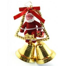 Декоративна фигурка Дядо Коледа върху камбанки за окачване