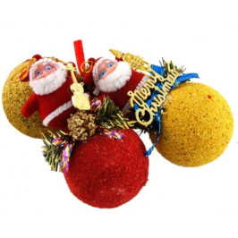 Комплект от три броя коледна декорация за окачване на елха - Дядо Коледа върху топка брокат