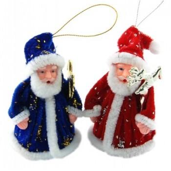 Декоративна фигурка Дядо Коледа с костюм кадифе и брокат - за окачване