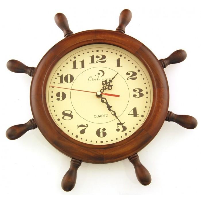 Сувенирен дървен стенен часовник - рул - 26см
