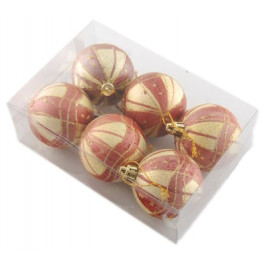 Комплект двуцветни коледни топки за окачване на елха, декорирани с брокат