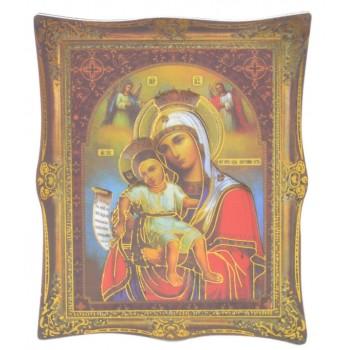 Икона с имитация на рамка върху магнитна основа - Дева Мария с младенеца и два ангела