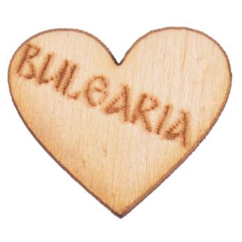 Лазерно рязан дървен елемент - сърце с надпис Bulgaria
