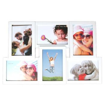 Бяла мултирамка за 6 снимки - 3 хоризонтални и 3 вертикални