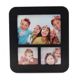 Черна мултирамка за 3 снимки, изработена от PVC материал и фронт стъкло