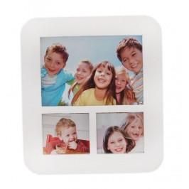 Бяла мултирамка за 3 снимки, изработена от PVC материал и фронт стъкло