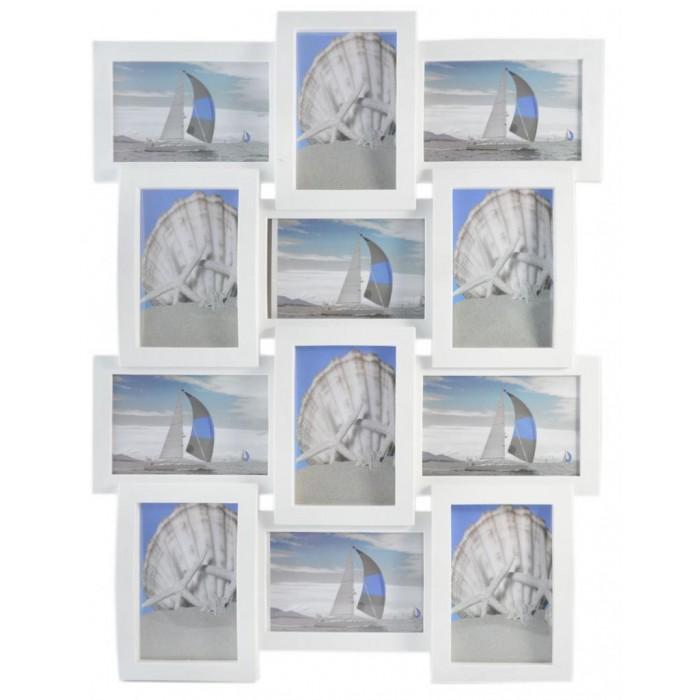 Стилна бяла мултирамка за 12 бр
