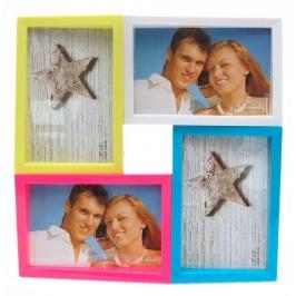 Цветна мултирамка за 4 снимки, изработена от PVC материал и фронт стъкло