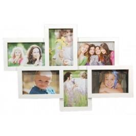 Бяла мултирамка за 6 снимки, изработена от PVC материал и фронт стъкло