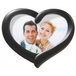 Стилна черна рамка за снимки във формата на сърце