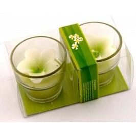 Комплект две ароматни свещи - форма цвете в стъклени свещници - 6х6см