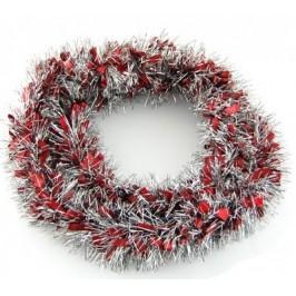 Коледна украса - двуцветен гирлянд от ленти сребристо фолио и блестящи цветни панделки