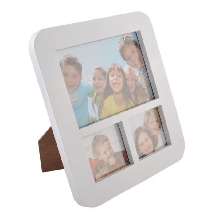 Бяла мулти рамка за 3 снимки с овални ъгли