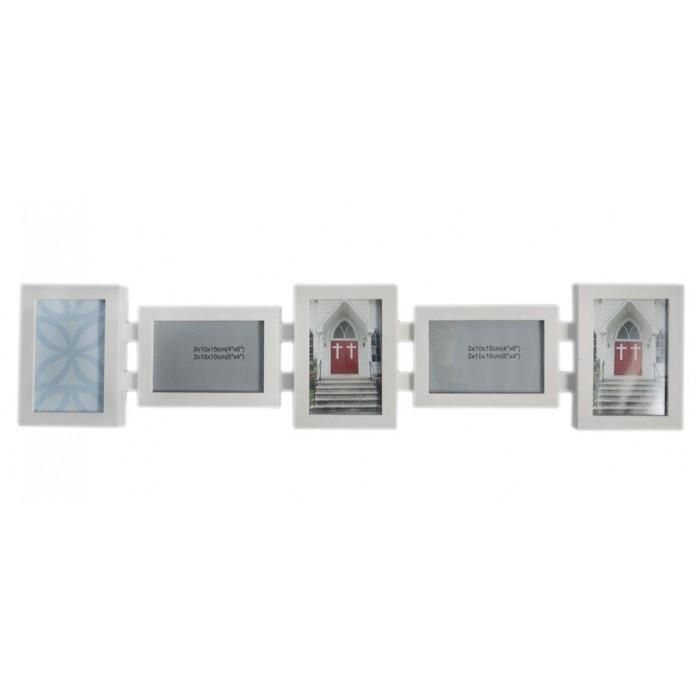 Стилна бяла мултирамка за 5 снимки, изработена от PVC материал и фронт стъкло