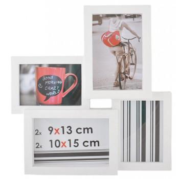 Бяла мулти рамка за 4 снимки, изработена от PVC материал и фронт стъкло