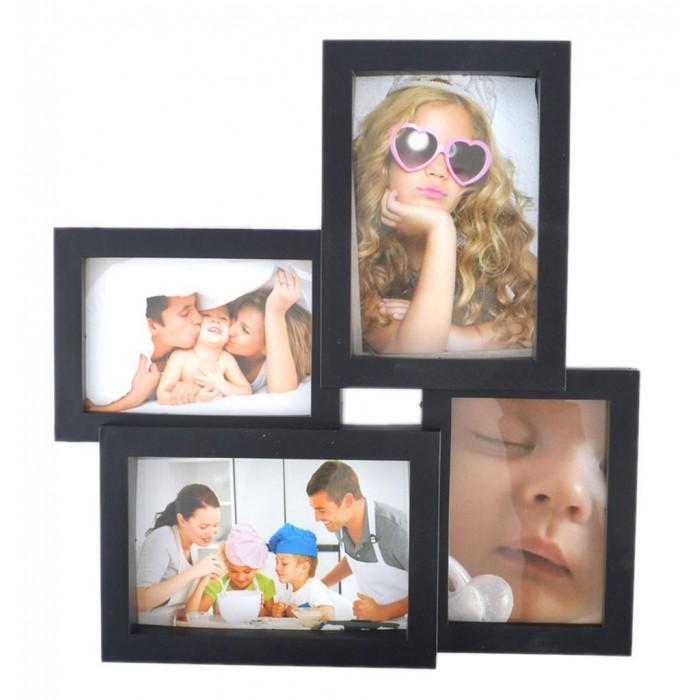 Черна мулти рамка за 4 снимки, изработена от PVC материал и фронт стъкло