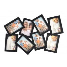 Разчупена черна мулти рамка за 8 снимки, изработена от PVC материал и фронт стъкло