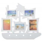 Стилна бяла мултирамка във формата на кораб с място за 5 снимки