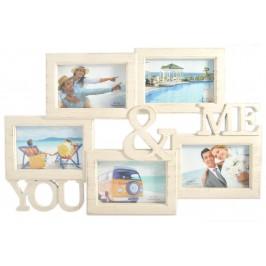 Бежова мулти рамка за 5 снимки, изработена от PVC материал, фронт стъкло и кукички за закачване