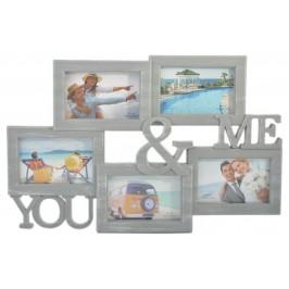 Сива мулти рамка за 5 снимки, изработена от PVC материал, фронт стъкло и кукички за закачване