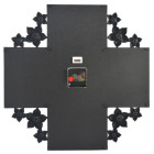 Красива черна мултирамка за 4 снимки с часовник, декорирана с цветчета