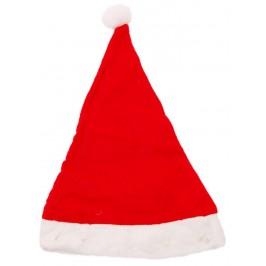 Преоценена коледна шапка с дефект от полар в бяло и червено с леки забележки