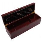 Луксозен комплект за вино от шест части - тирбушон, лиек, тапа, ринг, спиртомер в масивна дървена кутия