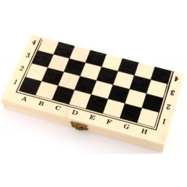 Комплект шах и табла в красива дървена кутия с размери - 25х25 см