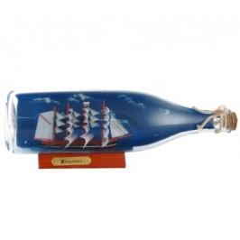 Сувенирен кораб - дърво в стъклена бутилка с фон - 9х28см
