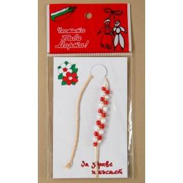 Мартеница плетена конопена гривна с мъниста бяло и червено