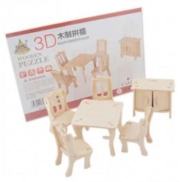 3D - пъзел от дърво - маса с четири стола и шкаф